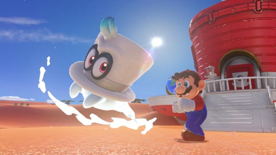 Nintendo Switch console with neon red&blue Joy-Con / Super Mario Odyssey
