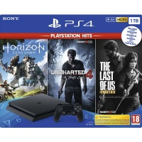 PS4 Konzole 1TB Slim HITS Pack (HZD,UC4,TLOU)